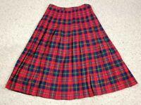 Vtg Pendleton Women's Authentic Boyd Tartan Pleated Red Plaid Wool Skirt Size 14