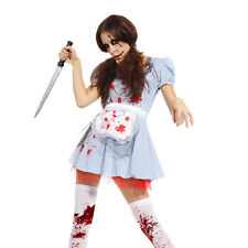 Girls Bloody Rag Doll Costume Scary Halloween Child Horror Fancy Dress Outfit