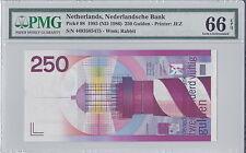 Netherlands P-98 1986 250 Gulden PMG 66EPQ (Gem UNC)