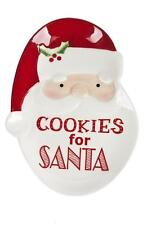"COOKIES FOR SANTA Ceramic Serving Plate, 8.25"" Long, by Ganz"