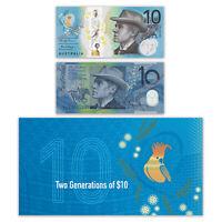 Australia 2017 Two Generations $10 Banknotes 1st Polymer & New Series RBA Folder