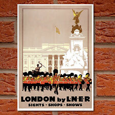 Vintage Travel Poster London Buckingham Palace Bandsmen -A4