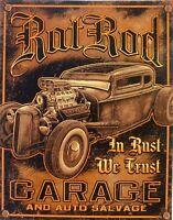 PLAQUE métal vintage HOT ROD RAT ROD GARAGE - 40 x 30 cm