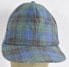 Green Blue Faint Plaid Dutch Tweed Baseball hat cap Adjustable Leather Strap