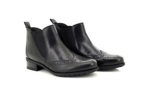 Comfort Plus Twin Gusset Chelsea Brogue Womens Ladies Leather Ankle Boots Black