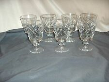 7 Webb Corbett Water Goblets Fine Crystal Fan Thumbprint Disk Stem WEC7 NICE