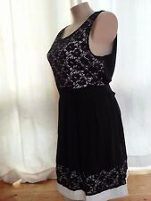 Crossroads Lined BLACK  LAce over tie back dinner party dress size 18 NEW