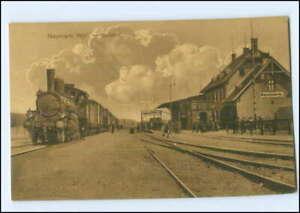 XX15088/ Neumark Westpreußen Bahnhof Lokomotive Eisenbahn AK 1915