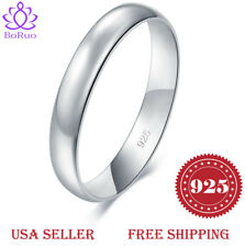 BORUO 925 Sterling Silver Ring High Polish Infinity Symbol Tarnish Resistant Comfort Fit Wedding Band Ring Size 4-12