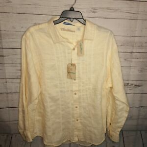 CARIBBEAN ROUNDTREE & YORKE MEN'S SZ LARGE LINEN LS SHIRT $80 LIGHT YELLOW