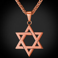 Star of David Pendant & Necklace Chain christian Israel Jewish Rose Gold