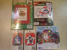 Lot of 5 Sealed Christmas Cross Stitch Kits, Bucilla & Dimensions