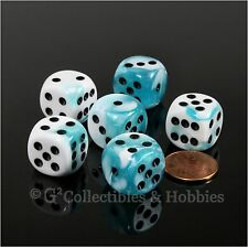 NEW Set of 6 Teal White Gemini D6 Dice Six Sided RPG D&D Game 16mm D6s Chessex