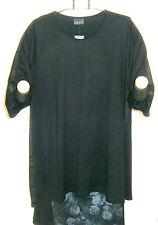 Ophilia: Lagenlook Kleid Tunika schwarz A-Linie 3/4 Arm Gr. 6 (52 - 54) NEU
