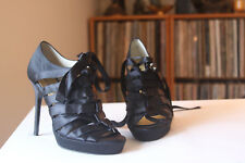 Bruno Frisoni Black Satin Lace Up Strappy Heels Eur Size 37 Made In Italy