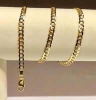"14KT Solid Yellow+White Gold PAVE Curb Link 20"" 3.6 MM 7 GRMS Chain/Necklace"