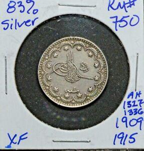 Ottoman/Turkey:KM-750,5 Kurush ,1327/7 (1909) * Silver * BU *