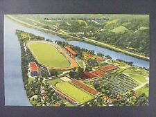 Ohio OH Wheeling Downs Stadiums Mid Century Linen Postcard 1930-45