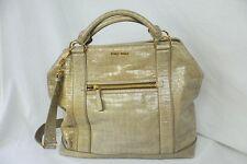 MIU MIU Huge Taupe Glazed Crocodile Croco Large Bag Tote Messenger Handbag Purse