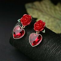 Elegant Women Crystal Red Heart Rose Stud Earrings Wedding Bridal Jewellry Gifts
