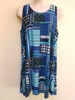 Bobbie Brooks Blue White Print Sleeveless Soft Knee Length Dress Plus Size 3X