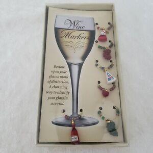 Vtg BOSTON WAREHOUSE Wine Glass Charms Markers Wine Cheese Theme NIB 6 PC, 2001
