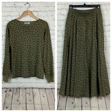 New listing Vintage Izod Womens Skirt Top Two Piece Outfit Olive Green Modest Medium