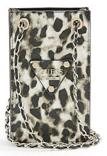NEW GUESS LEOPARD PRINT CHIT CHAT SMARTPHONE CROSS BODY BAG