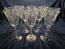 10 CAMBRIDGE ROSE POINT Etched Water Wine Goblets Stems (3121) 10 oz