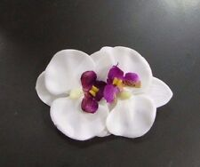 Double White Purple Orchid Flower Hair Clip Rockabilly 1950s Fascinator Vtg 3038