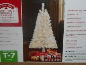 4 FT WHITE Christmas Tree Indiana Spruce 105 Clear Lights New