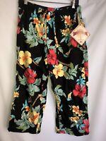 New W/tag Caribbean Joe Size L Large Hawaiian Cropped Capri Pants Floral Black