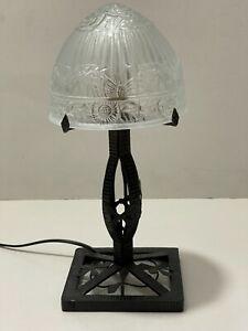 Très belle Ancienne Lampe Fer Forgé art déco Dôme, globe en verre pressé