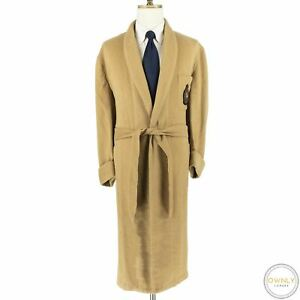 Polo Ralph Lauren Camel Brown Wool MiUSA Shaggy Emblem Patch Belted Shawl Robe L