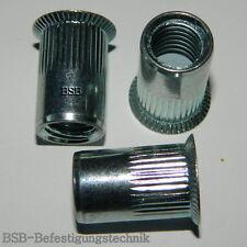1-4mm Nietmuttern 10 Stk Einnietmuttern M12 Stahl verzinkt Senkkopf ger