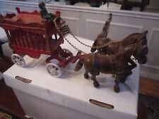 "ANTIQUE CAST IRON ""OVERLAND CIRCUS"" DUAL HORSES AND CART -  HEAVY - 16"" LONG"