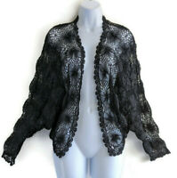 NWT Chicos Womens Cocoon Cardigan Bolero Jacket Crochet Black Sz Medium Large