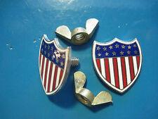Estrellas y Rayas Patriótico Escudo - Matrícula Soportes (Oro) en Caja de Regalo