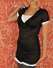 SeXy Miss Damen Double Look Retro Long Top kurz Arm Shirt schwarz weiß 34/36/38