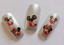 "Nail Art Girl Glitter ""Mickey Minnie Bows"" Water Transfer Decal Sticker New 1552"