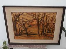 """Paul Cezanne """"Alberi e case"""" riproduzione originale Ghima olio su tavola 70x50"""