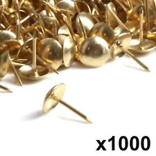 1000x UPHOLSTERY NAILS/TACKS/ STUDS Brass Plated Steel Chair Sofa Leather Fabric