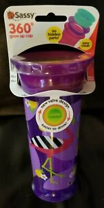 SASSY 360 Insulated Grow-Up 12 oz CUP Purple Flamingos NEW