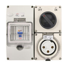 3 pin 32 Amp RCD Protected - Switched Socket RCBO Outlet RCD COMBO IP66
