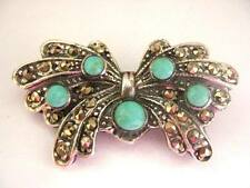 Sterling Silver Marcasite Turquoise Butterfly Brooch Vintage Art Nouveau style