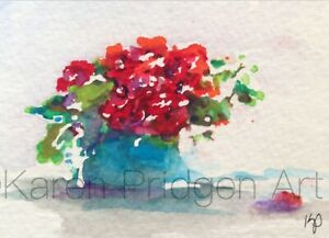 """ACEO ATC Signed Print """"Red Floral"""" Flowers Watercolor Art Artist Trading Card"""