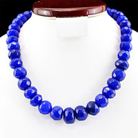 790.50 CTS EARTH MINED FACETED ROUND SHAPED RICH BLUE SAPPHIRE BEADS NECKLACE