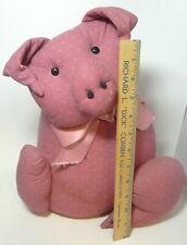 "Mauve Fabric Stuffed Pig Door Stop Heavy Hand Made 14"" Tall"