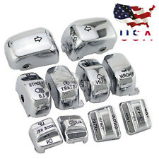 Chrome Carved Hand Control Switch Cover Button Caps Kit for Harley Glide DYNA US