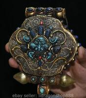 """6 """"vieux bouddhisme tibétain argent fil gemme bête 4 bras boîte de Chenrezig"""